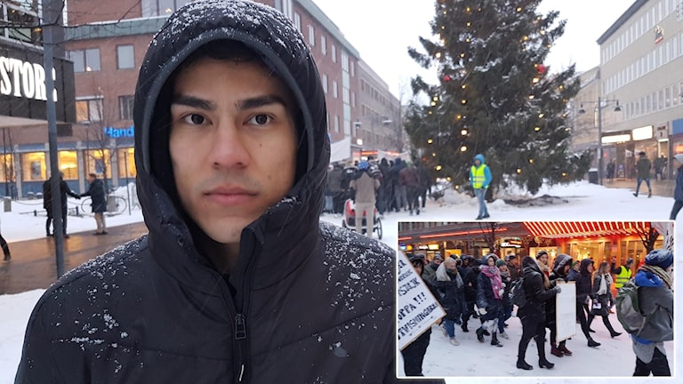 Reza Rezaey och manifestationen på Storgatan i Luleå.