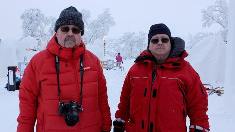 Roland Sigurdh och Ingvar Sigurdh från Malmö besöker Snöfestivalen i Kiruna.