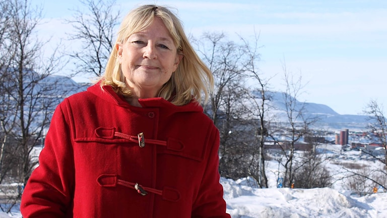 EU-politikern Marita Ulvskog (S) besöker Kiruna. Foto: Alexander Linder/ Sveriges Radio.