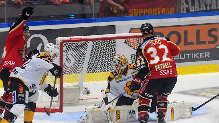 Luleå Hockey gör mål mot Skellefteå. Foto: Alf Lindbergh/Pressbilder.