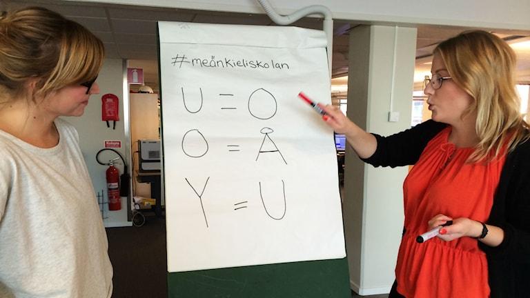 I första lektionen försöker Linnea Luttu lära sig hur man uttalar u, o och y på meänkieli. Ida Brännström lär ut. Foto: André Pettersson/Sveriges Radio.