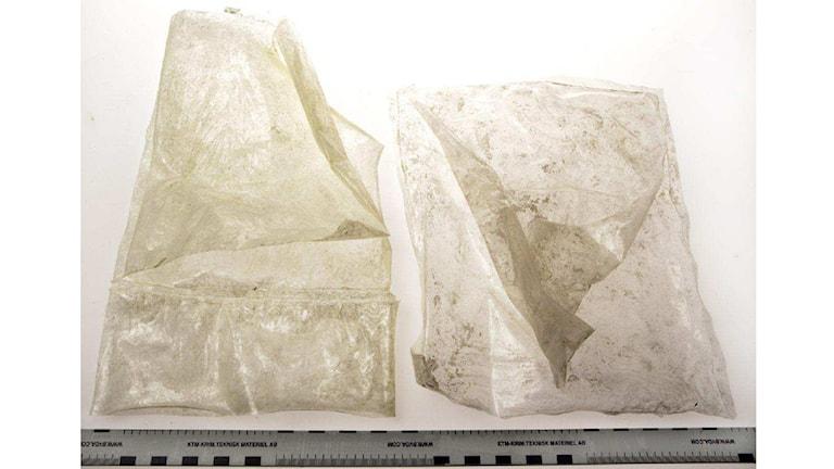 Belagtagna, tomma påsar med fragment av pulver. Foto ur polisens förundersökning.