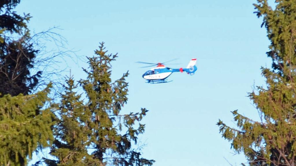 Polisens helikopter i Luleå. Foto: Hjalmar Lindberg/Sveriges Radio.