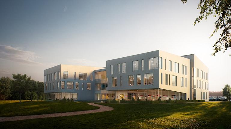Illustration över exteriören på Vattenfalls nya kontor i Luleå.