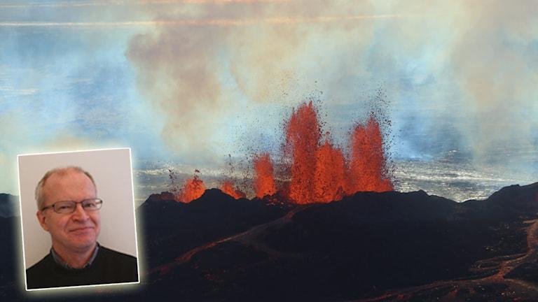 Vulkanen Bardarbunga på Island 2014 och Per-Erik Karlsson, IVL Svenska miljöinstitutet. Foton: IVL Svenska miljöinstitutet och Stefano Di Nicolo/TT. Montage: Sveriges Radio.