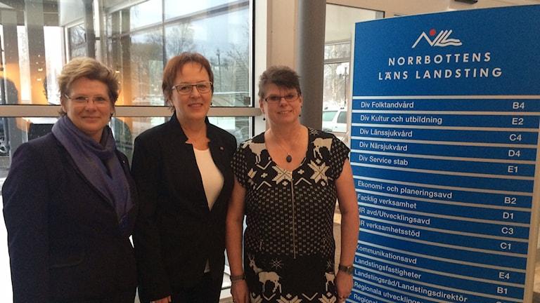 Kristina Enholm (MP), Karin Åström (S) och Christina Snell Lumio (V)
