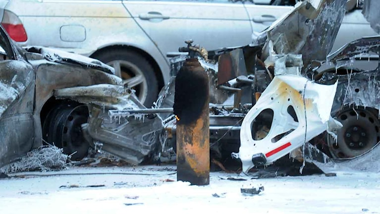 Gasolflaska efter gasexplosionen i Luleå. Foto: Alf Lindbergh/Pressbilder