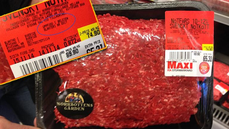 Svenskt kött uppfödd i Belgien är det svenskt kött?
