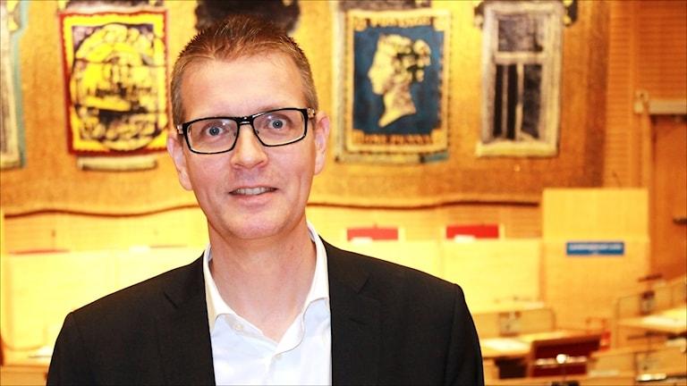 Mattias Karlsson (M) gruppledare landstinget. Foto Stig-Arne Nordström/Sveriges Radio.