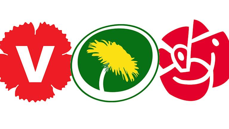De rödgrönas loggor: Vänsterpartiet, Miljöpartiet och Socialdemokraterna.