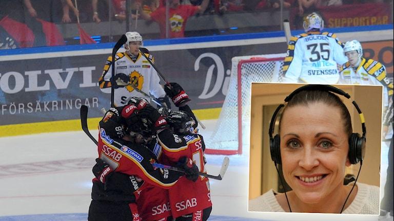Anna Barthold inför derbyt mellan Luleå Hockey och Skellefteå. Foton: Alf Lindbergh/Pressbilder och Turi Wennberg/Sveriges Radio. Montage: Sveriges Radio.