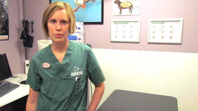 Karin Sandström som är avdelningschef och veterinär på djursjukhuset i Gammelstad, utanför Luleå. Foto: Hjalmar Lindberg/Sveriges Radio.