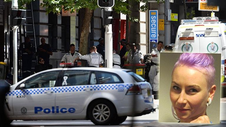 Polisbilar under gisslandrama i Sydney med Anja Stridsman infälld. Foton: TT och Sveriges Radio.