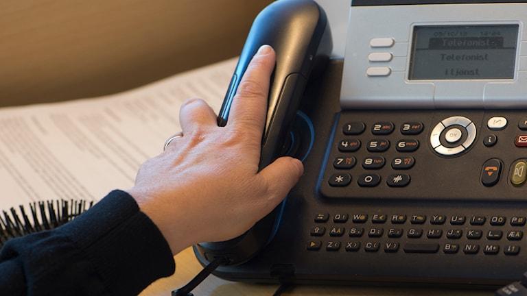 Receptionist med handen på telefonen. Foto: Fredrik Sandberg/TT.