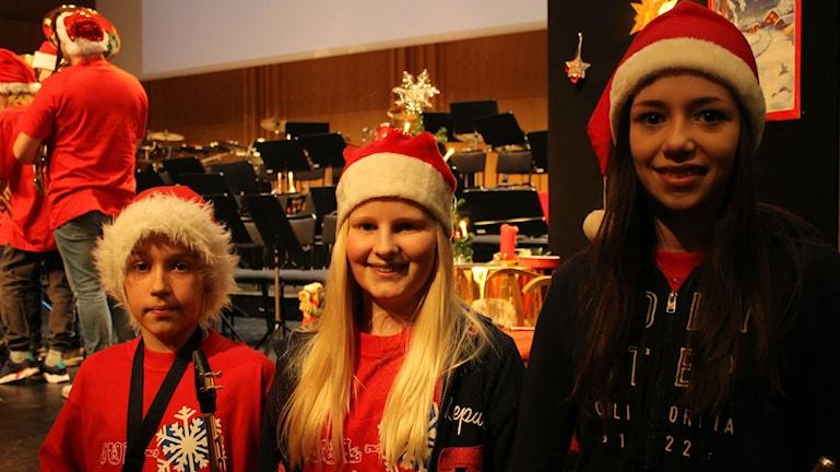 Kulturskoleeleverna Gabriel Hörnsten, Cornelia Hagman och Klara Åkerlund-Löwenborg. Foto: Turi Wennberg/Sveriges Radio.