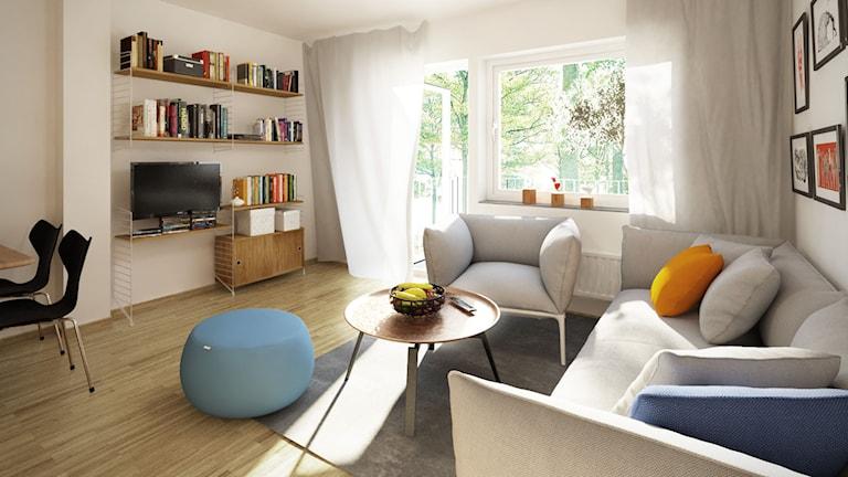 Vardagsrum i ett Lindbäckshus. Foto: Lindbäcks bygg.