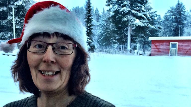 Maria Isaksson i Aukstjaur, en av krafterna bakom det gemensamma julfirandet i Arvidsjaur. Foto: David Zimmer/ Sveriges Radio.