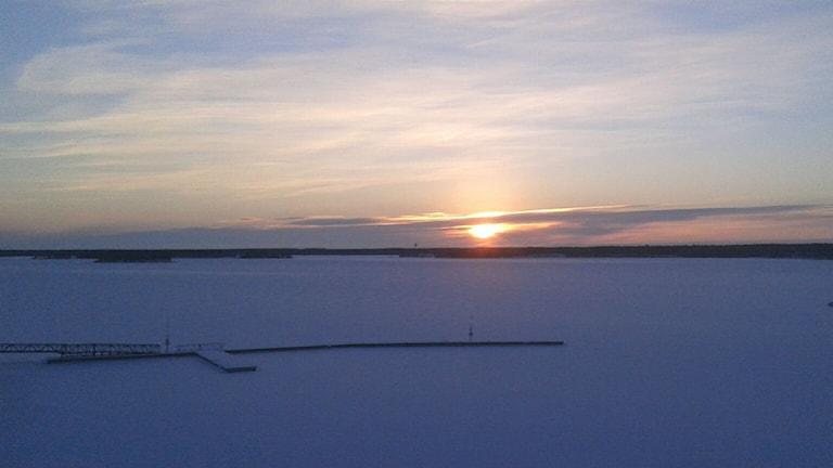 Solen knappt över horisonten i Södra hamn i Luleå. Foto: Eleonor Norgren/Sveriges Radio.