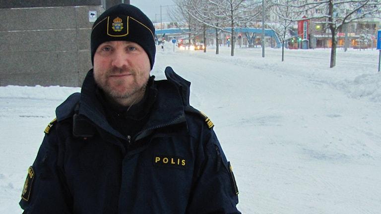 Jan Lundmark polisinspektör på trafikenheten. Foto: Hjalmar Lindberg/Sveriges Radio
