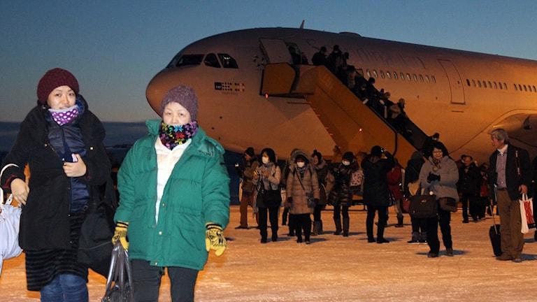 Direktflyget från Tokyo landande i Kiruna dagen före julafton. Foto: Alexander Linder/ Sveriges Radio.