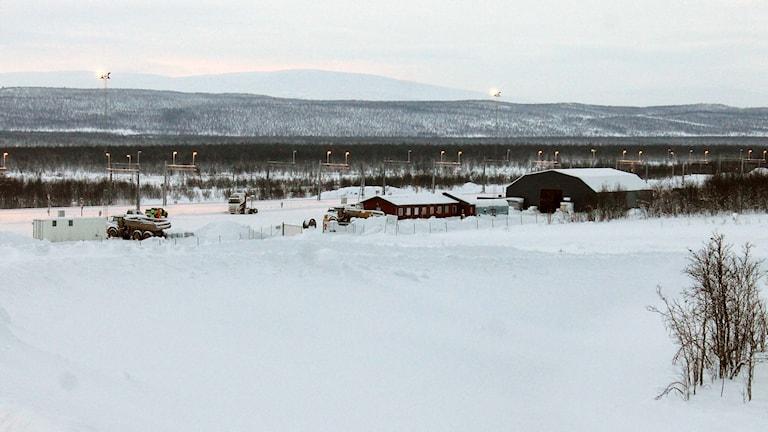 Godsterminalen finns söder om Kiruna, vid den nya järnvägen. Foto: Alexander Linder/ Sveriges Radio.