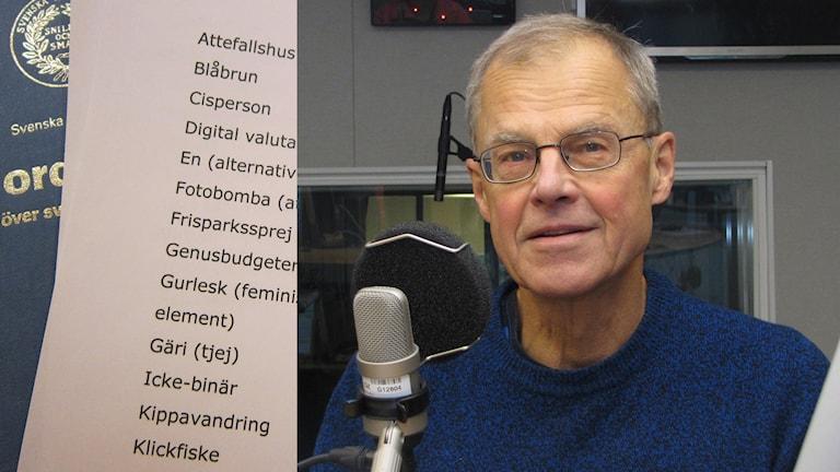 Språkvetare Rune Westerlund pratar om 2014 års nyord. Foto: Hjalmar Lindberg/Sveriges Radio och Anneli Lindbäck/Sveriges Radio. Montage: SR