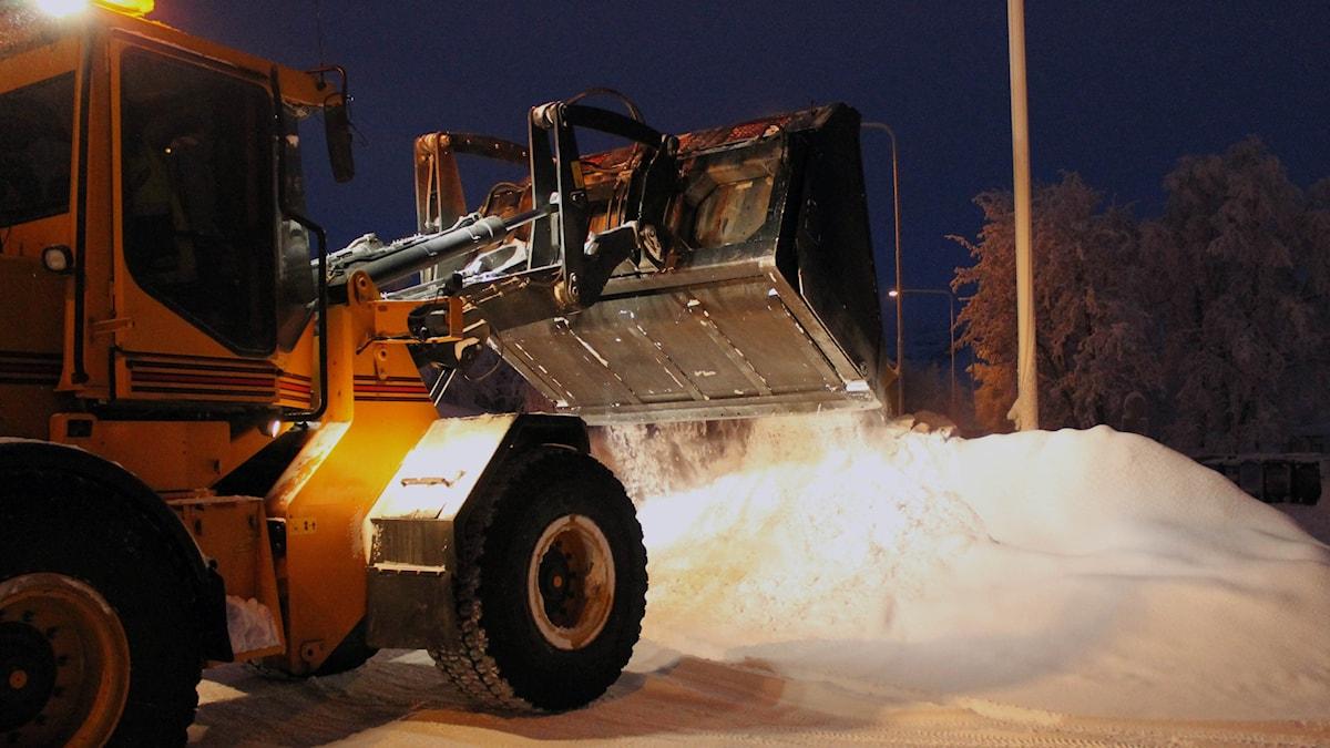 traktor, snöskottning, snöröjning, snö