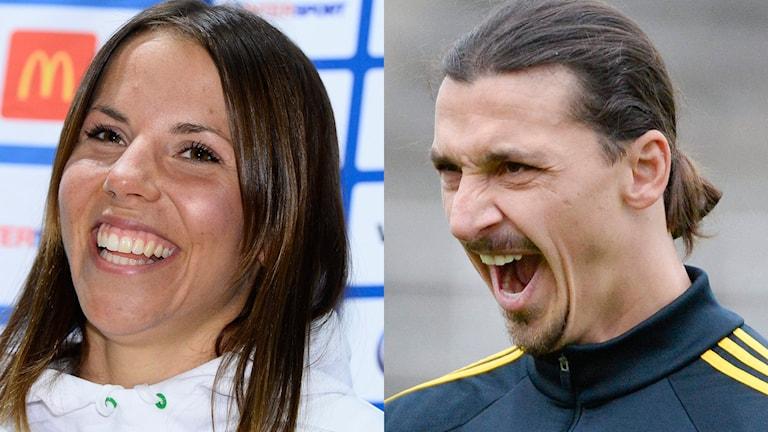Charlotte Kalla och Zlatan Ibrahimovic. Foton: Claudio Bresciani och Jessica Gow/TT.