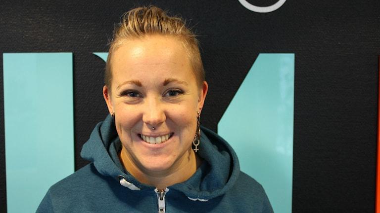 Angelica Brage, en av världens främsta styrkelyftare. Foto: Linnea Luttu/Sveriges Radio.