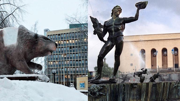 Isdjuret (bäver) i Stadsparken i Luleå, med stadshuset i bakgrunden och statyn Poseidon på avenyn i Göteborg med Göteborgs konstmuseum. Foton: Carin Sjöblom/Sveriges Radio och Fredrik Persson/TT.