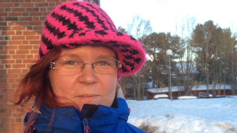 Sandra Jonsson kontaktperson för projektet med grannsamverkan i Arjeplog. Foto: Eva Elke/Sveriges Radio.