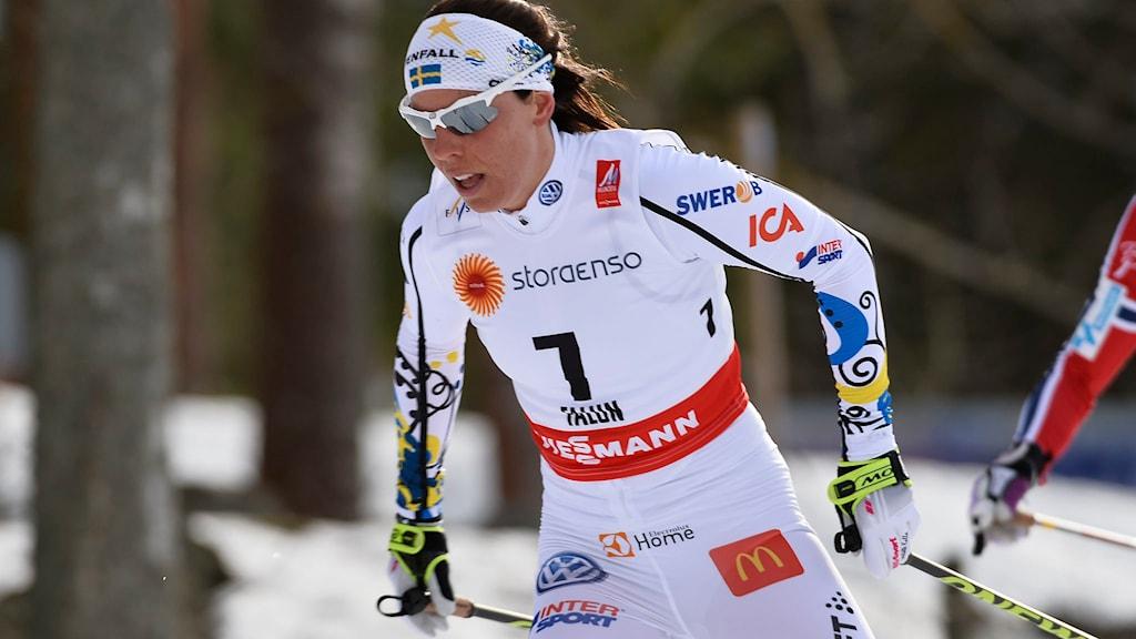 Charlotte Kalla i skiathlon i skid-VM i Falun, längdskidor. Foto: Anders Wiklund/TT.