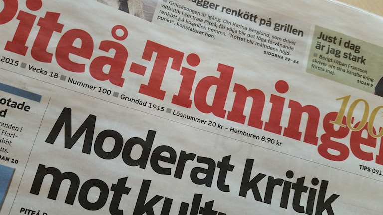 Lördagens Piteå-Tidning kommer först på måndag till de som fått ändrad utdelning. Foto: Carin Sjöblom/ Sveriges Radio.