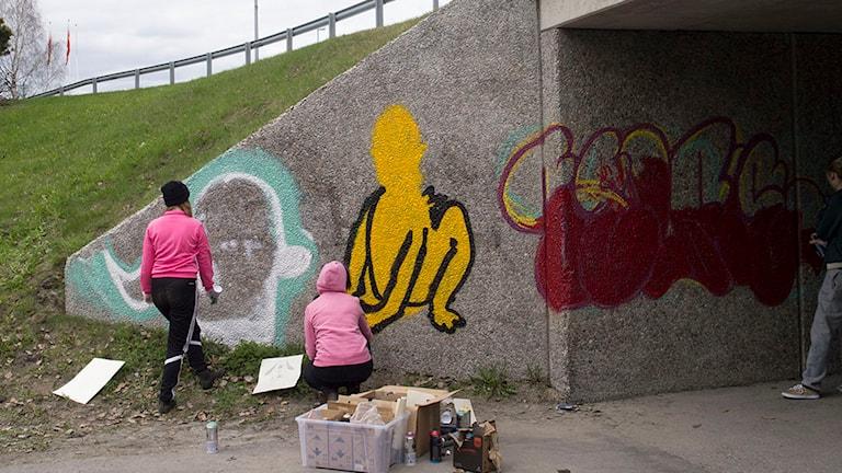 Graffitimålning av gångtunnel. Foto: Tobias Barenthin Lindblad