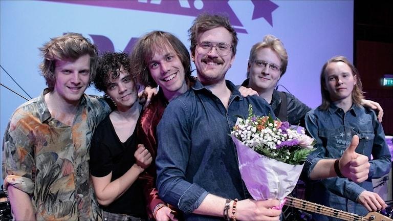 Lamps & Flowers vinnare i Svensktoppen Nästa Norrbotten 2015. Foto Stig-Arne Nordström / Sveriges Radio.