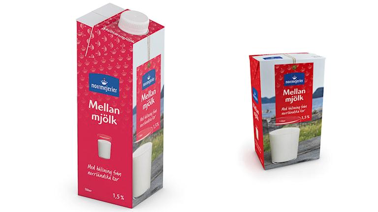 Mjölkförpackning med och utan skruvkork.