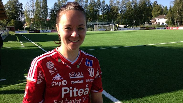 June Pedersen i Piteå IF. Foto: Hjalmar Lindberg/Sveriges Radio.