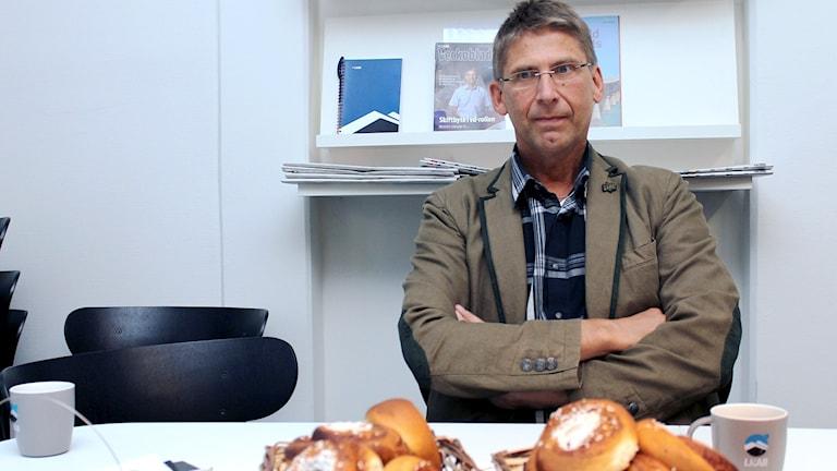 Jan Moström är ny VD i gruvbolaget LKAB. Här på besök i Kiruna. Foto: Alexander Linder/ Sveriges Radio.