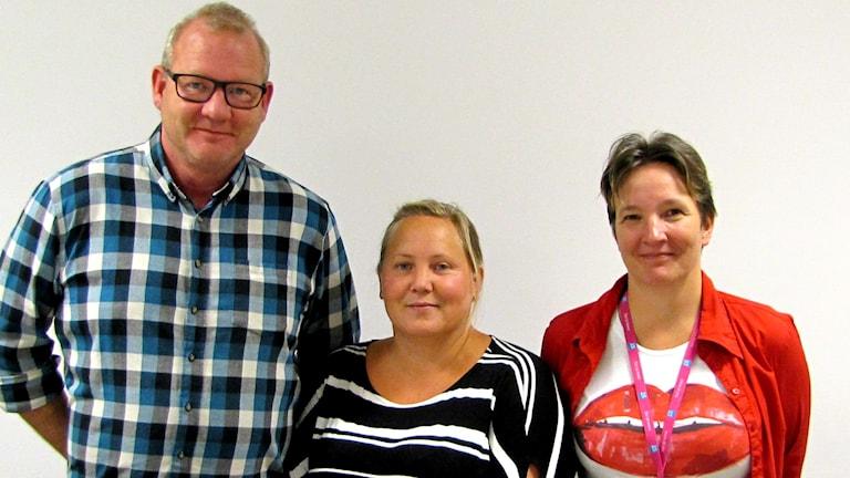 Mats Skytt, Catharina Backelund och Jessica Wuopio är fackliga representanter på migrationsverket i Boden.