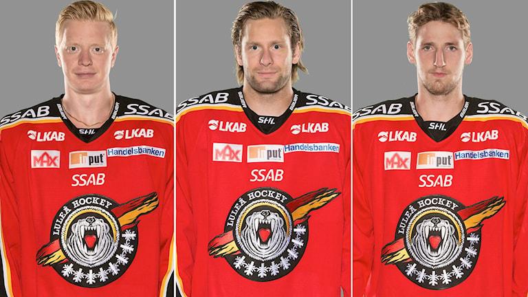 Luleå Hockeys Lennart Petrell, Jonathan Granström och Anton Hedman. Foto: Stig Kenne/TT.