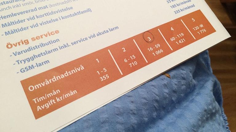 Tord Engström tillhör tariff 3, men två gånger har han bara fått hemtjänst 15 timmar och tycker att han då ska betala för tariff 2. Foto: Linnea Luttu/Sveriges Radio.