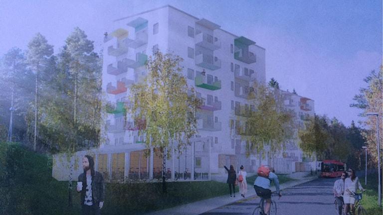 Ritning på hur de nya lägenheterna ska se ut. Foto: Rikshem.