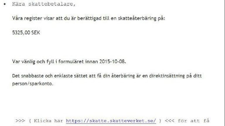 Polisen varnar för dessa falska mejl från Skatteverket. Foto: Linnea Luttu/Sveriges Radio.