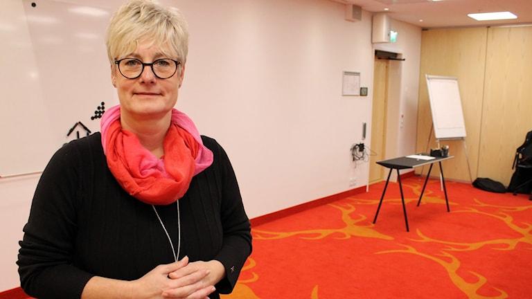 Marie Linder är Hyresgästföreningens förbundsordförande. Foto: Alexander Linder/ Sveriges Radio.