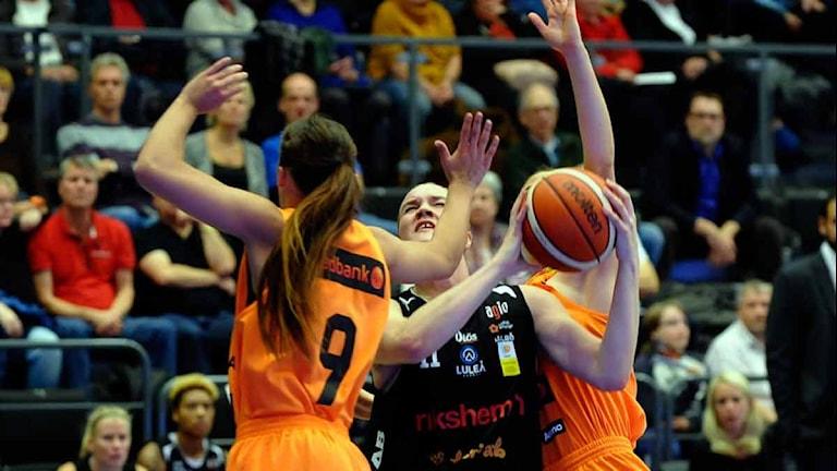 Luleå Baskets Allis Nyström i kamp mot Norrköping. Foto: Alf Lindbergh/Pressbilder.