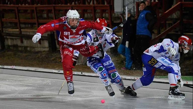 Kalix Bandys Christoffer Norin mot Kungälv. Foto: Alf Lindbergh/Pressbilder.
