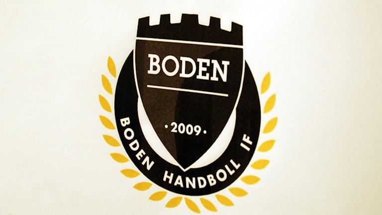Boden handbolls klubbmärke. Arkivfoto: Hjalmar Lindberg/Sveriges Radio.
