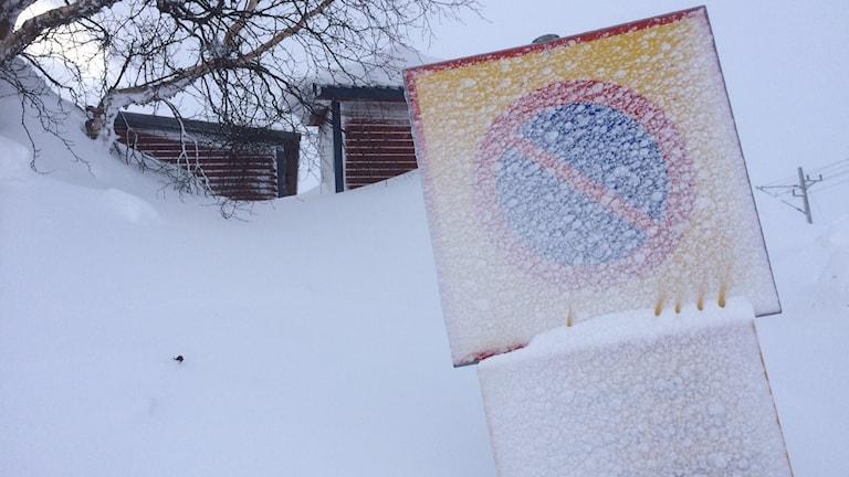 Det blåste hårt i Katterjåkk under söndagen.
