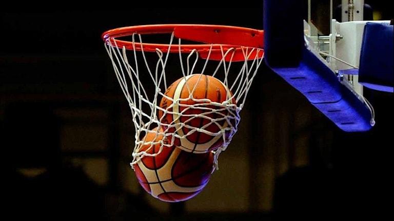 Två basketbollar i basketkorg. Foto: Alf Lindbergh/Pressbilder.
