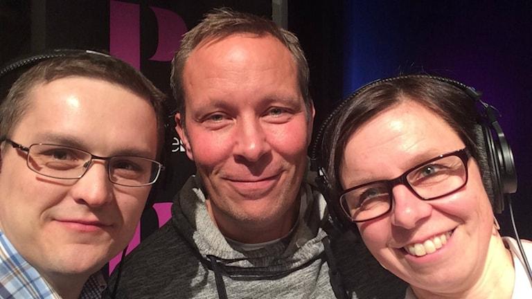 André Pettersson, Patrik Larsson och Lena Callne.